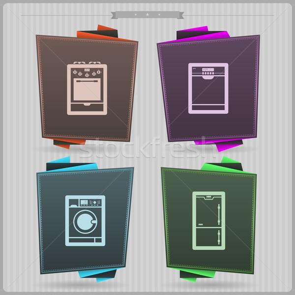 Huis objecten kachel vaatwasmachine wasmachine koelkast Stockfoto © Vectorminator