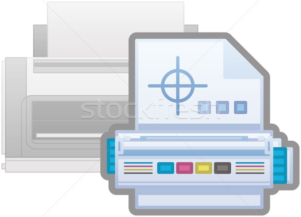 Nyomtató ikon számítógép hardver ikon szett felirat Stock fotó © Vectorminator