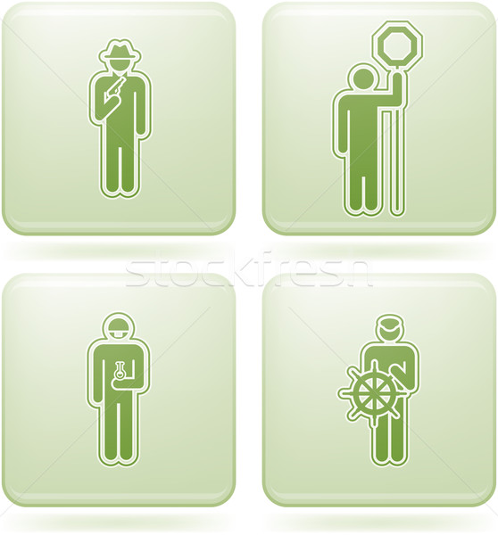 Olivine Square 2D Icons Set: Occupation Stock photo © Vectorminator