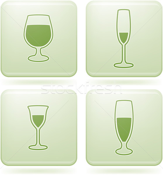 Olivine Square 2D Icons Set: Alcohol glass Stock photo © Vectorminator