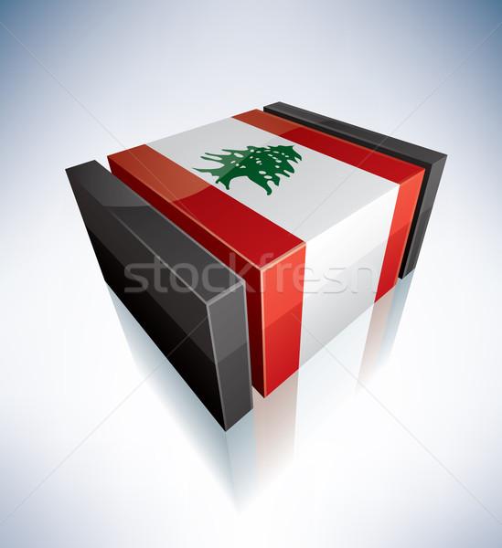 3D bayrak Lübnan Asya cumhuriyet bayraklar Stok fotoğraf © Vectorminator