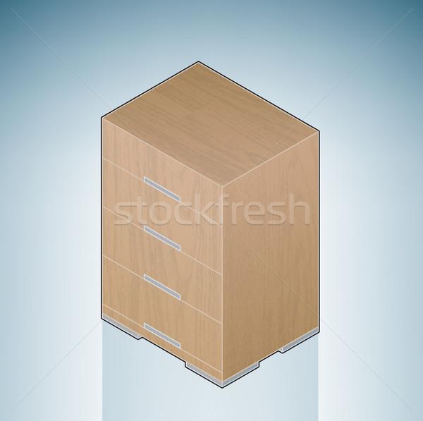 Meubles chambre poitrine tiroirs 3D isométrique Photo stock © Vectorminator