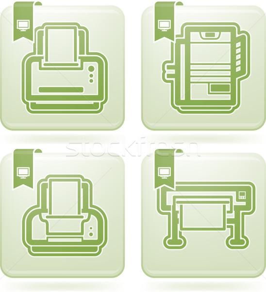 Számítógép alkatrészek kellékek itt helyes nyomtató Stock fotó © Vectorminator