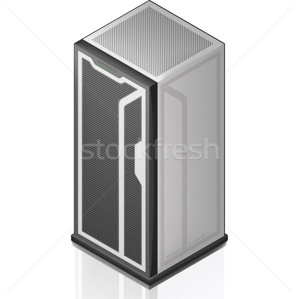 сеть серверную стойку изометрический 3D икона компьютер Сток-фото © Vectorminator