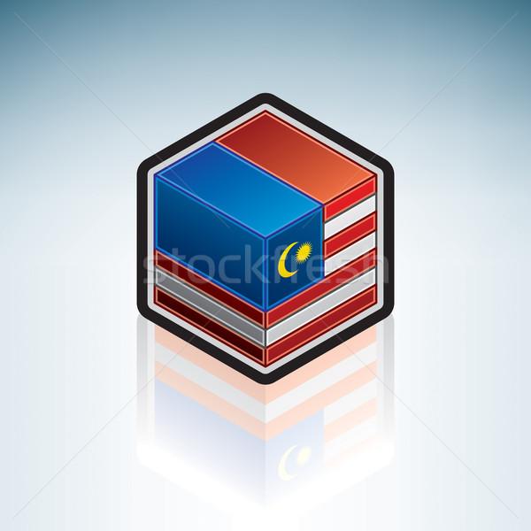 Malásia Ásia bandeira 3D isométrica estilo Foto stock © Vectorminator
