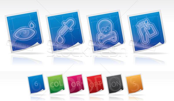 Opieki zdrowotnej ikona 22 niebieski Zdjęcia stock © Vectorminator