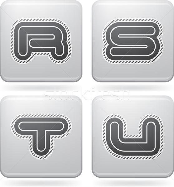 письма современных иконки платина Сток-фото © Vectorminator