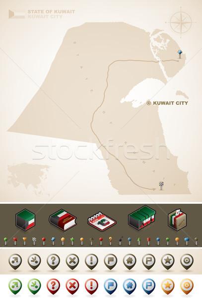 Kuveyt Asya haritaları ekstra ayarlamak Stok fotoğraf © Vectorminator