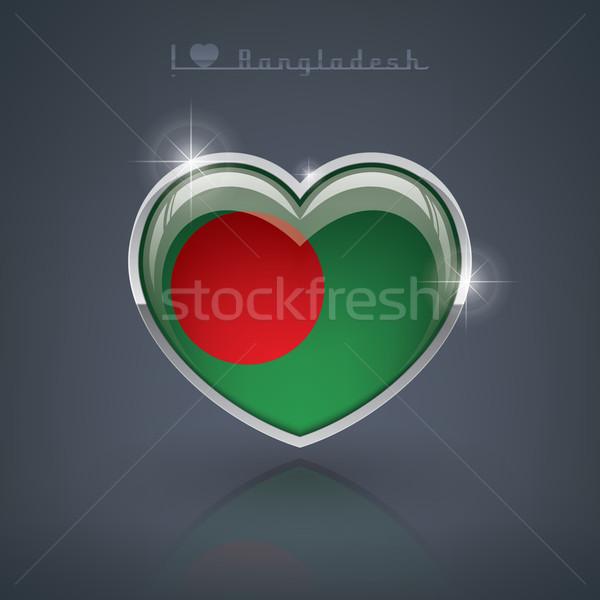 Bangladesh forma de coração bandeiras povos república Foto stock © Vectorminator