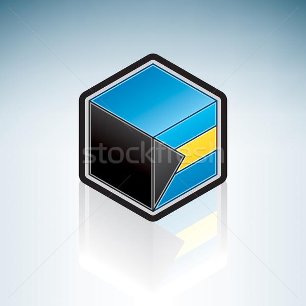 Bahamas américa latina bandeira 3D isométrica estilo Foto stock © Vectorminator