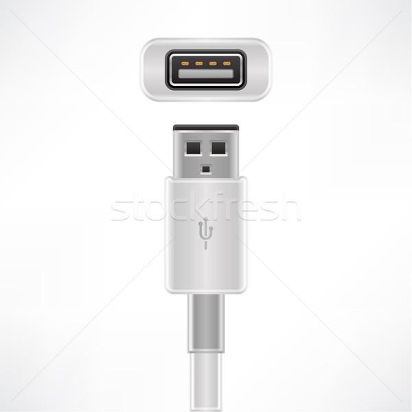 Usb kábel dugó foglalat számítógép Stock fotó © Vectorminator