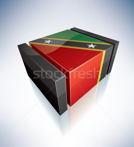 3D flag of Federation of Saint Kitts and Nevis Stock photo © Vectorminator