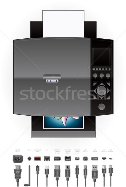 Iroda tintasugaras szín fotó felső kilátás Stock fotó © Vectorminator