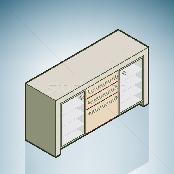 Poitrine tiroirs modernes meubles isométrique 3D Photo stock © Vectorminator