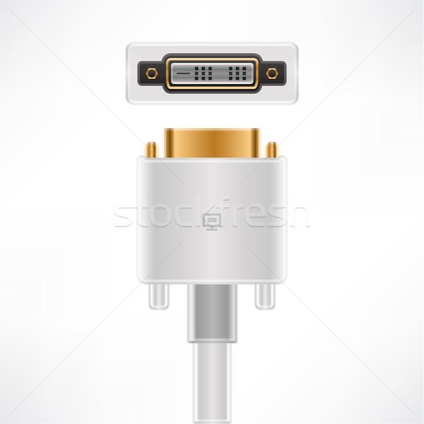 Kábel láncszem dugó foglalat számítógép hardver Stock fotó © Vectorminator