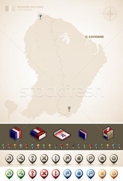 Francés américa del sur mapas extra establecer Foto stock © Vectorminator