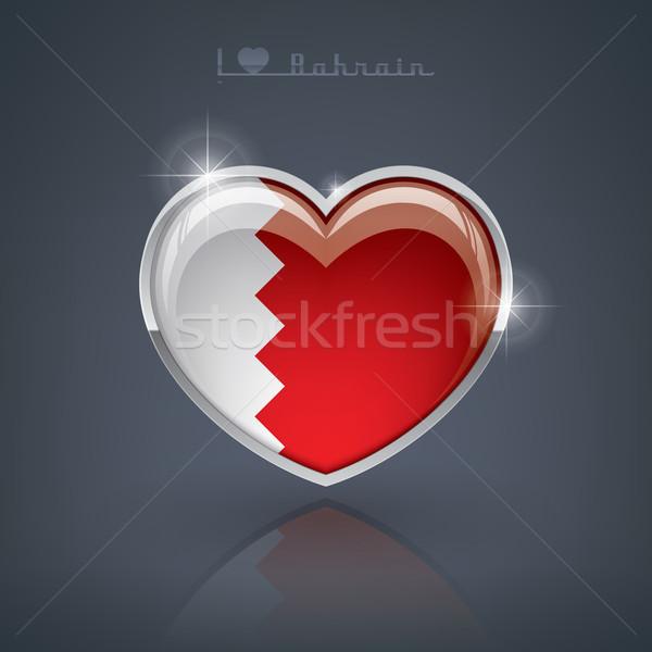 Bahreyn parlak kalp şekli bayraklar krallık kalp Stok fotoğraf © Vectorminator
