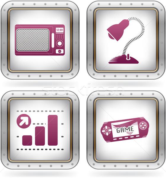 Сток-фото: Интернет · иконы · микроволновая · печь · столе · лампы · бизнес-графика · игры