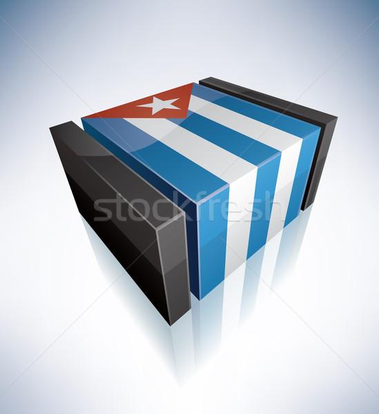 3D флаг Куба Карибы республика флагами Сток-фото © Vectorminator