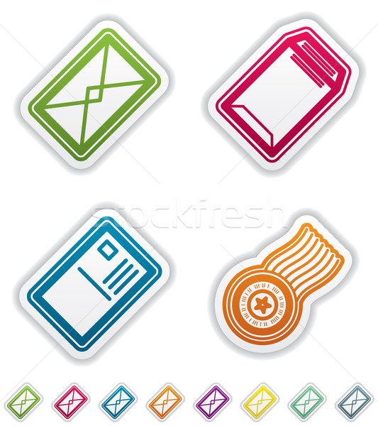 Stockfoto: Kantoor · leveren · objecten · briefkaart · stempel · groep