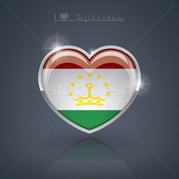 Таджикистан формы сердца флагами республика сердце Сток-фото © Vectorminator