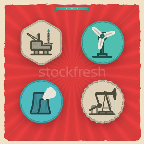 Ipar ikonok nehéz ikon szett itt helyes Stock fotó © Vectorminator