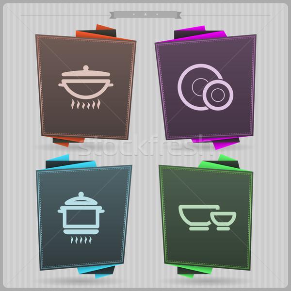 кухне приготовления право котелок с выпуклым днищем пластина Сток-фото © Vectorminator