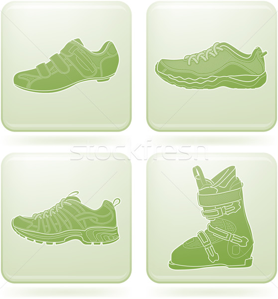 Olivine Square 2D Icons Set: Sport Shoes Stock photo © Vectorminator