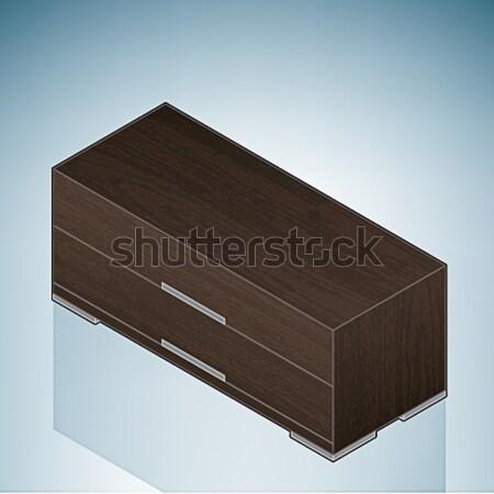 Meubles faible chambre poitrine tiroirs 3D Photo stock © Vectorminator