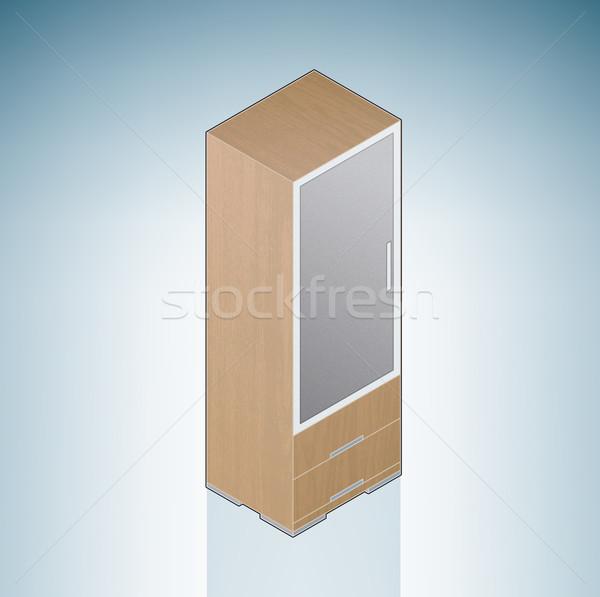 мебель небольшой спальня шкаф 3D изометрический Сток-фото © Vectorminator