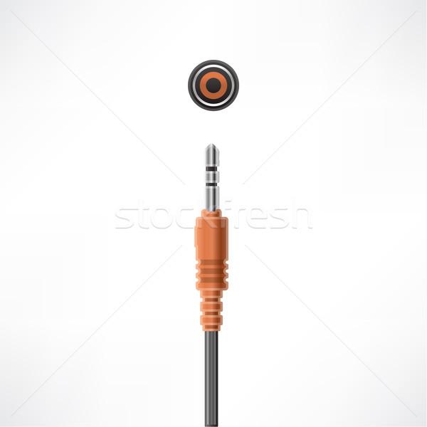 Kabel komputerowy wtyczkę mikrofon gniazdo komputera sprzętu Zdjęcia stock © Vectorminator