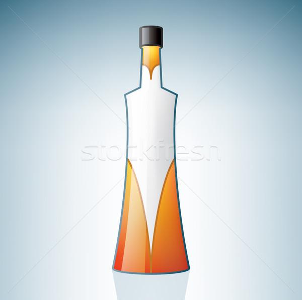 Vodka bouteille alcool verre bleu Photo stock © Vectorminator