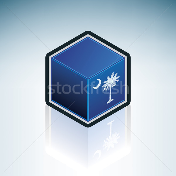 South Carolina vlag Verenigde Staten amerika 3D isometrische Stockfoto © Vectorminator