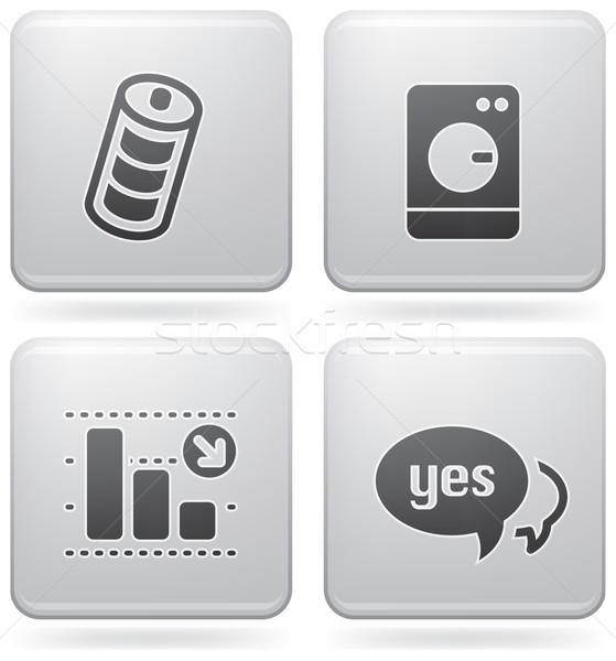 Internet pictogrammen alledaags iconen batterij niveau wasserij Stockfoto © Vectorminator