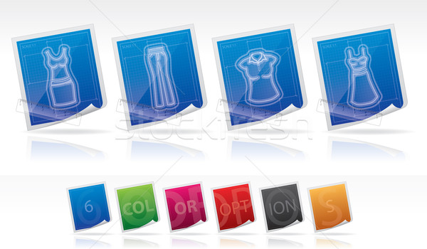 Ruházat ikon szett helyes ruha nadrág pólóing Stock fotó © Vectorminator