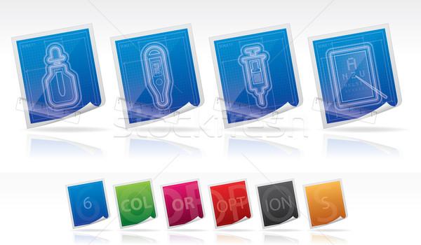 здравоохранения иконки 22 синий право Сток-фото © Vectorminator