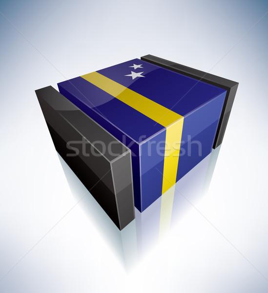 3D флаг флагами Карибы стране синий Сток-фото © Vectorminator