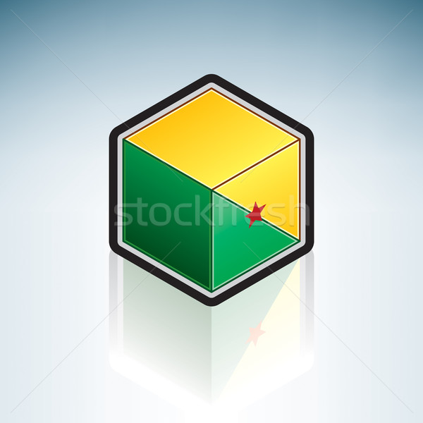 Южной Америке флаг республика Гайана 3D изометрический Сток-фото © Vectorminator