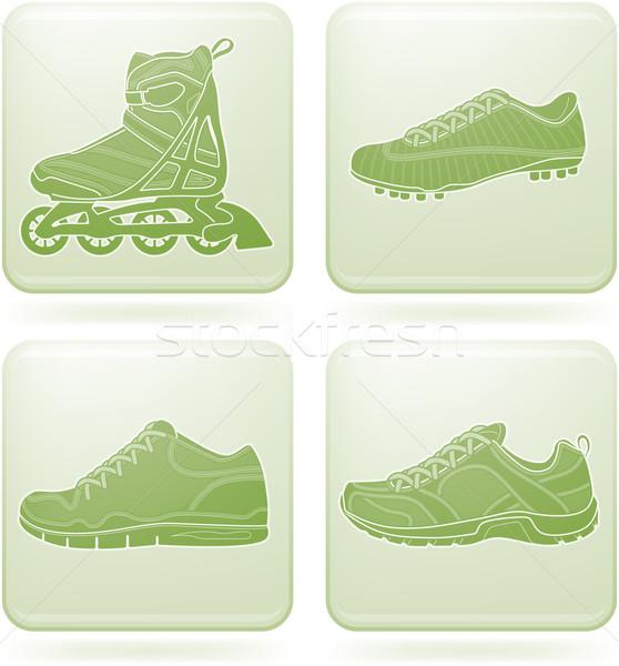 квадратный спорт обувь спортивных здесь Сток-фото © Vectorminator