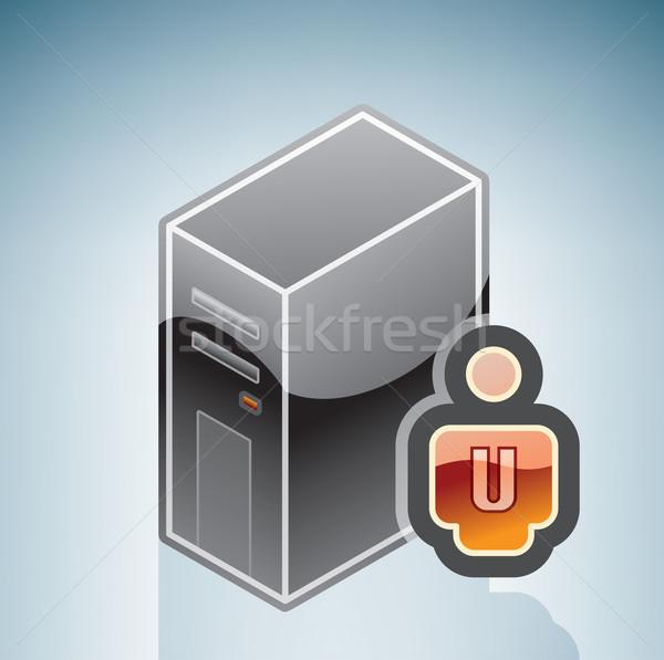 Rete utente isometrica 3D computer hardware Foto d'archivio © Vectorminator
