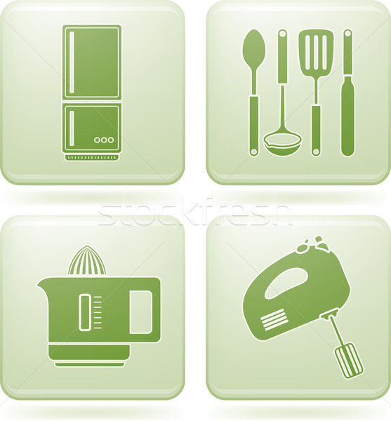 Olivine Square 2D Icons Set: Kitchen utensils Stock photo © Vectorminator