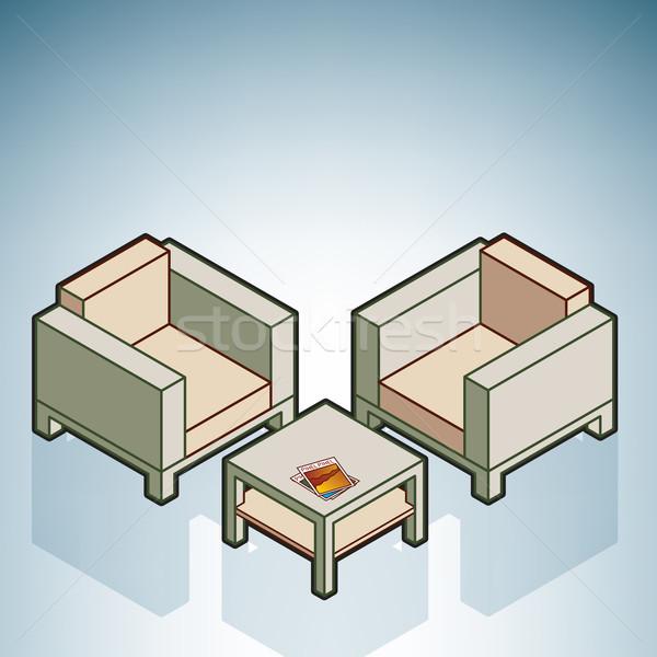 Cadeiras mesa de café moderno mobiliário isométrica 3D Foto stock © Vectorminator