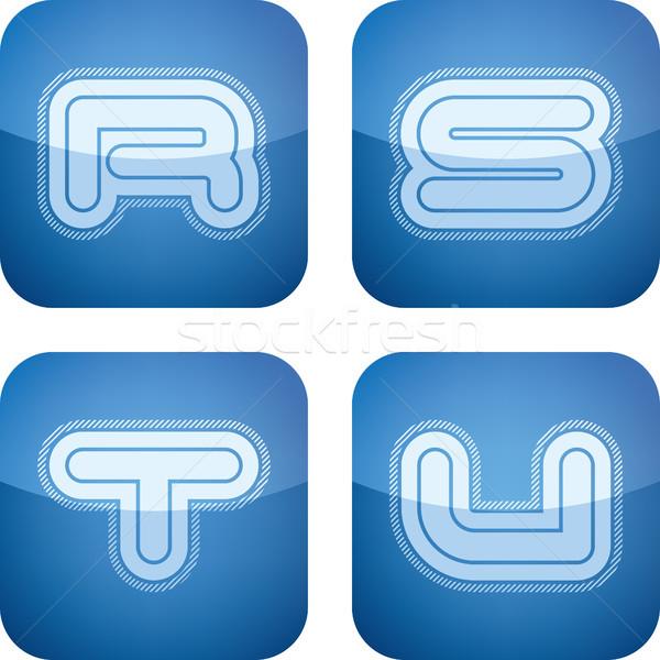 Cartas moderna todo iconos cobalto Foto stock © Vectorminator