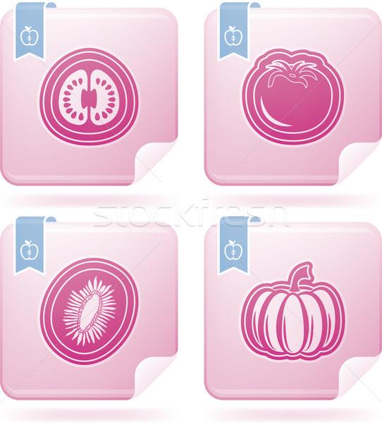 Vegetáriánus étel egészséges étel gyümölcsök zöldségek ikon szett helyes Stock fotó © Vectorminator