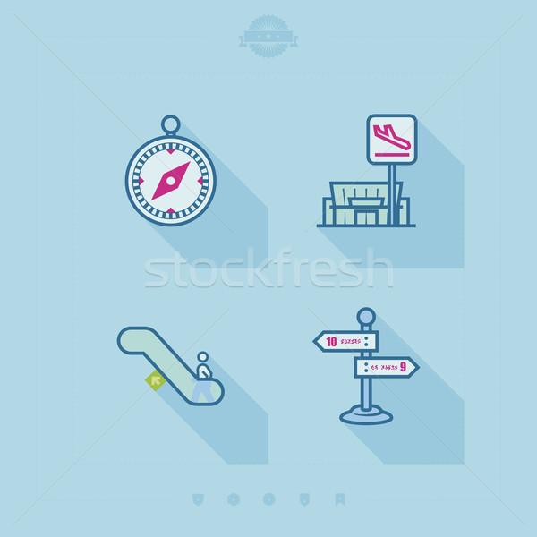 Viaggio aeroporto icone relazioni tempo Foto d'archivio © Vectorminator