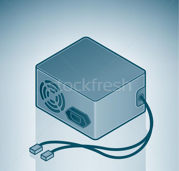 Source de courant isométrique 3D ordinateur matériel Photo stock © Vectorminator