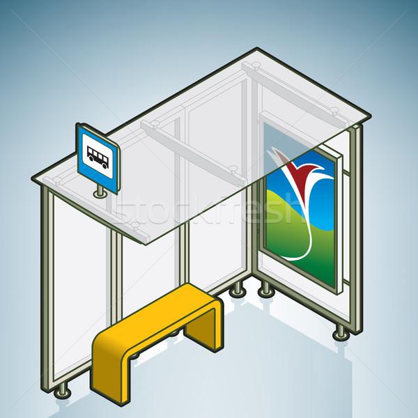 Przystanek autobusowy ulicy izometryczny 3D Zdjęcia stock © Vectorminator