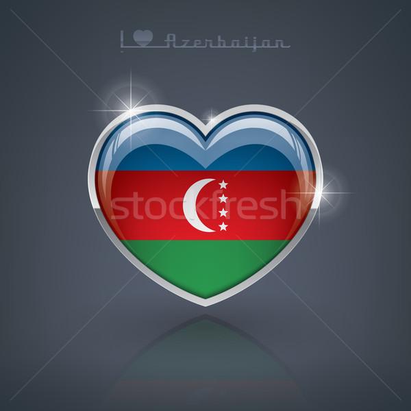 Azerbeidzjan glanzend hartvorm vlaggen republiek hart Stockfoto © Vectorminator