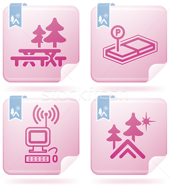 Camping ícones piquenique concreto internet Foto stock © Vectorminator