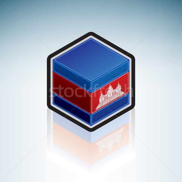 Cambodge Asie pavillon uni 3D isométrique Photo stock © Vectorminator